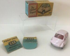 Vintage-Corgi-Toys-233-Lila-Heinkel-economia-Coche-en-Caja-Original
