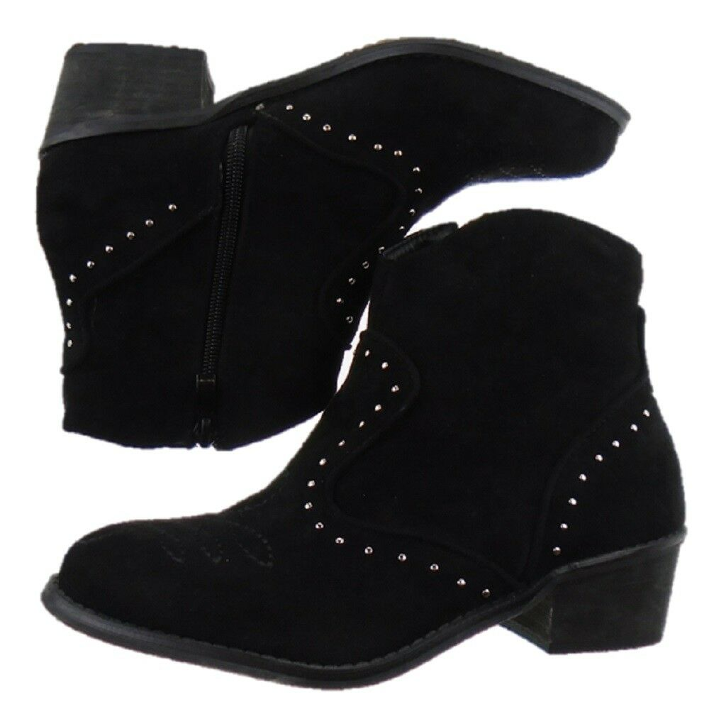 Ladies BLACK Faux Suede Chelsea Cowboy Ankle Boot Sizes UK 3 to UK 8