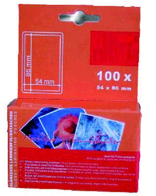100 Stück Laminiertaschen Kreditformat 54x86 mm glänzend 2x80 mic Folientaschen