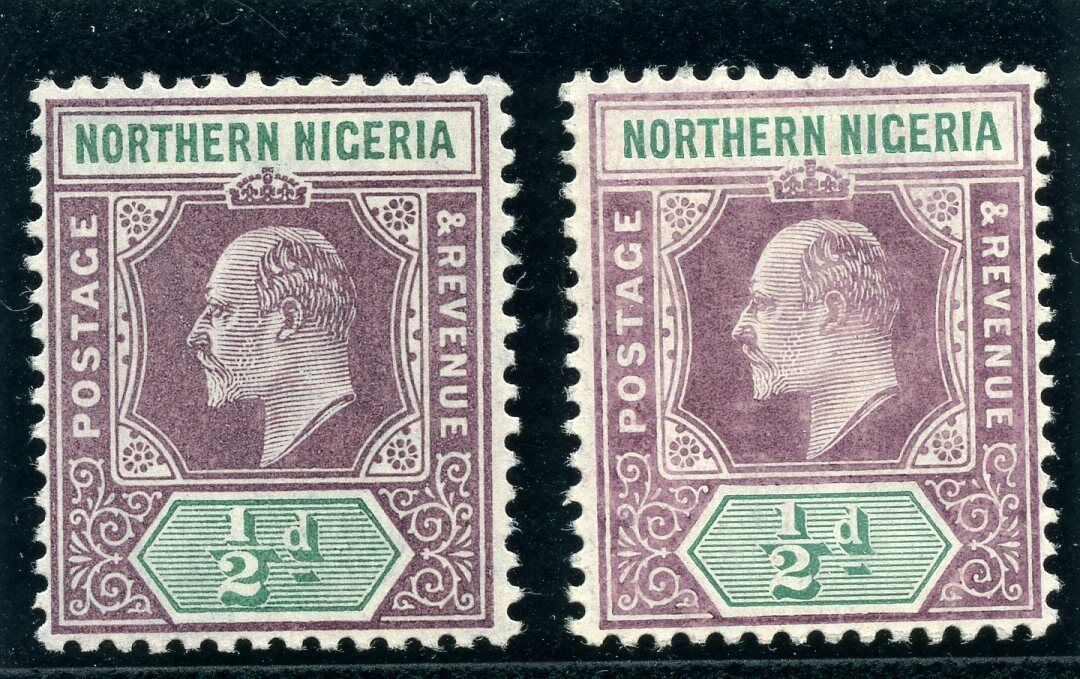 Northern Nigeria 1905 KEVII ½d in both listed shades MLH/MNH. SG 20, 20a.