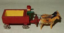 Miniatur Pferdegespann Pferdewagen Holzspielzeug Seiffen Erzgebirge alt 1930