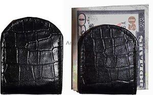 Lot-de-2-Neuf-Noir-Crocodile-Imprime-Cuir-Unbranded-Argent-Pince-Pince-Argent-Bn