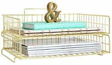 Desk Organizer Stackable Paper Tray Set Of 2 Metal Wire Two Tier Tray Gold