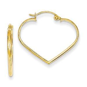 Ladies-NEW-14k-Yellow-Gold-Polished-2mm-Heart-Hinged-Hoop-Earrings-23mm