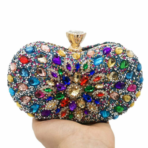 Multicolored Women Diamond Clutch Evening Handbags Wedding Party Crystal Bags