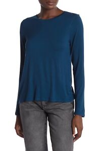 Halogen-Womens-Size-Small-Back-Vent-Tee-Long-Sleeve-Tshirt-Blue-Aurora-NEW-698