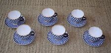Russian Lomonosov Cobalt Blue Net Demitasse Set -  24k Gold Embellished
