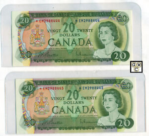 Pair-of-Sequential-Replacement-1969-20-BOC-Bank-Notes-AU-BC-50aA-OOAK
