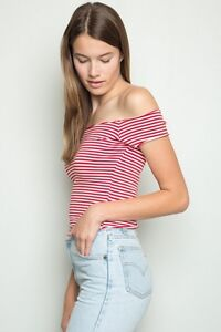 6eeff1b8678c2 New! brandy melville red white Striped Cropped off shoulder cotton ...