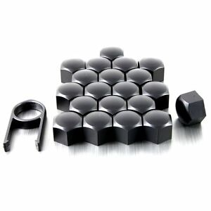 20 Silicone Wheel Screws Caps Bolts Covers 17 mm BLACK for Mercedes C-Class W204
