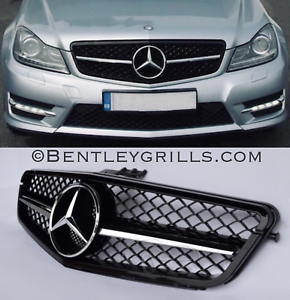 Mercedes-Clase-C-Grille-W204-Grill-C63-Look-AMG-Rejilla-Negro-y-Cromo