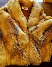 CINDERELLA Real Red Silver Fox Fur Jacket -Medium Coat not mink-lynx-rabbit M
