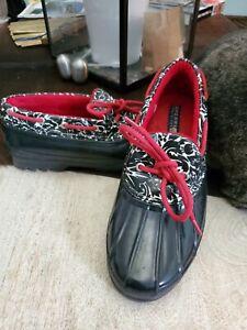 Sperry Top-Sider DuckWomens Red/Black/ White Design 9775834 Waterproof Rubber 9
