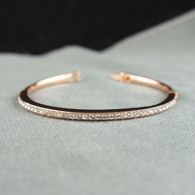 14k rose Gold plated with Swarovski crystals brilliant bangle bracelet