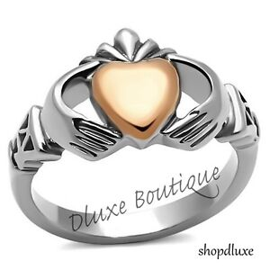 Women-039-s-Two-Tone-Stainless-Steel-Irish-Claddagh-Fashion-Promise-Ring-Size-5-11
