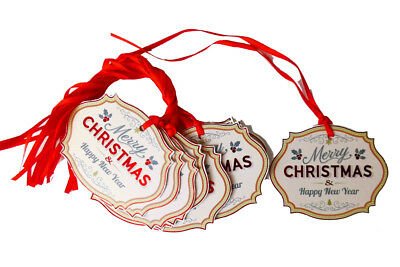 50 X Buon Natale Regalo Tag & Nastro-rosso Natale Le Carte Regalo Festivo- Lussuoso Nel Design
