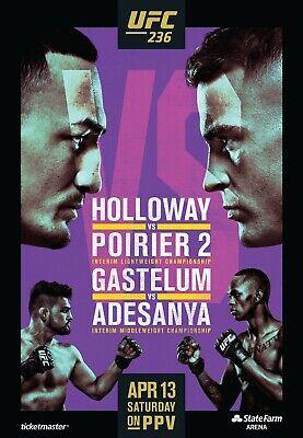 Ufc 236 Poster Holloway Vs Poirier 2 Gastelum Vs Adesanya 11x17 13x19 Ebay