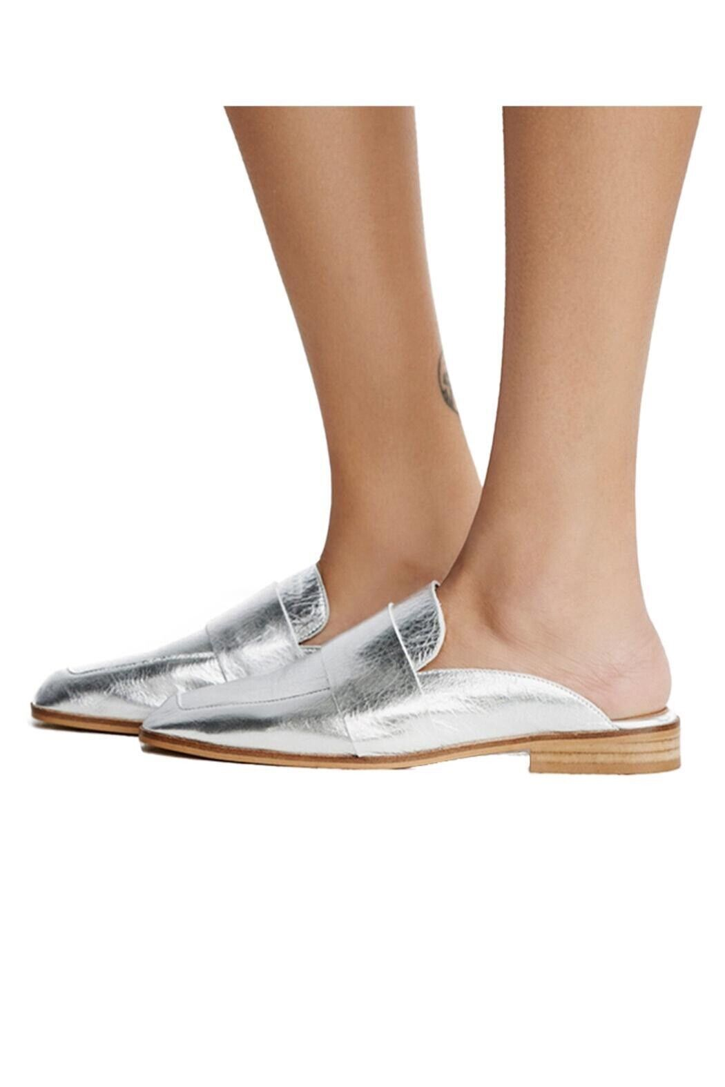 "Free people ""at ease"" silver loafers, size 5.5 New  98.00"