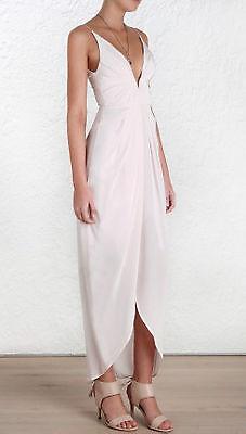 Zimmermann Silk V Tuck Long Dress, Blush Pink | Sizes 0,2,3 | $640 RRP