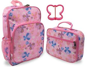 Keeli Kids Butterfly Girls Backpack And Lunch Box Set In