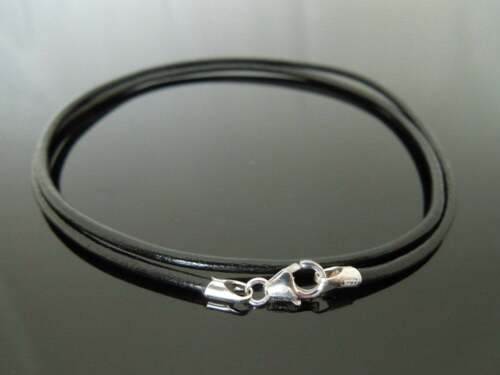"2mm Black Leather Double Wrap Bracelet ~ Sterling Silver Lobster Clasp 7/"" 18cm"
