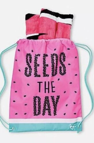 Justice Girl's Towel In Drawstring Seeds The Day Set NWT