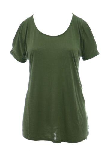 Womens 16-28 New Cold Shoulder Stud Top Khaki Green Ex High Street Bnwot