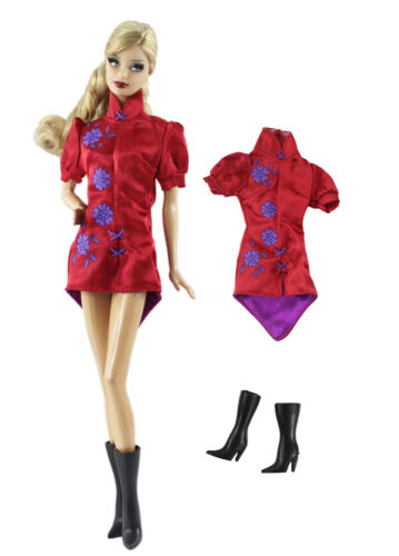 Boot  For 11.5in.Doll 2in1 Fashion cosplay wear Dress Skirt  Outfit Clothes