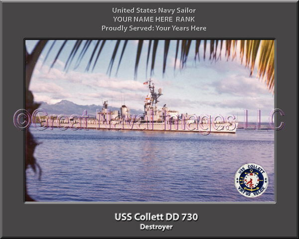 USS Collett DD 730 730 730 Personalized Canvas Ship Photo Print Navy Veteran Gift f2f8f8