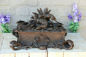 Antique-Swiss-XL-black-forest-wood-carved-hunt-dog-fox-Scene-Box-rare