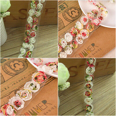 1/2/5M 3D Chiffon Organza Flower Net Rose Lace Trim Embroidered Applique Sewing