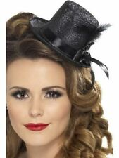 Womens Ladies Teens Black Burlesque Mini Glitter Top Hat & Feather Fancy Dress