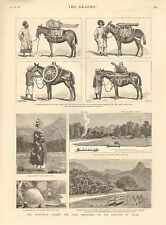 1884 ANTIQUE PRINT- INDIA-THE EXPEDITION AGAINST THE AKHA MARAUDERS IN ASSAM