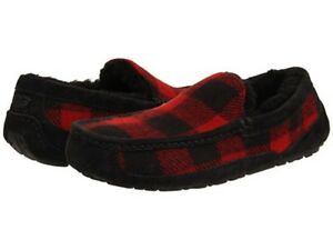 ecd118850c9 Details about NEW MENS UGG AUSTRALIA ASCOT PLAID SLIPPER PLAID RED & BLACK  ~ NEW IN THE BOX
