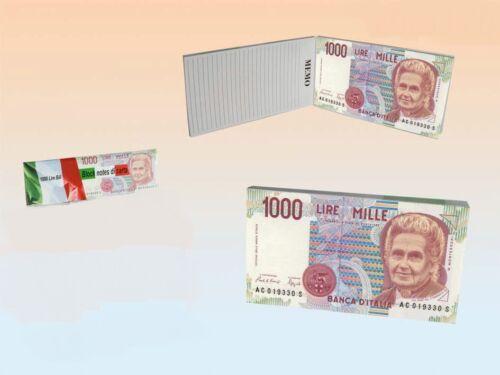 Notizbuch Italien 1000 Lire Note  Notizblock Notizen 100 Blatt liniert 15x8 cm