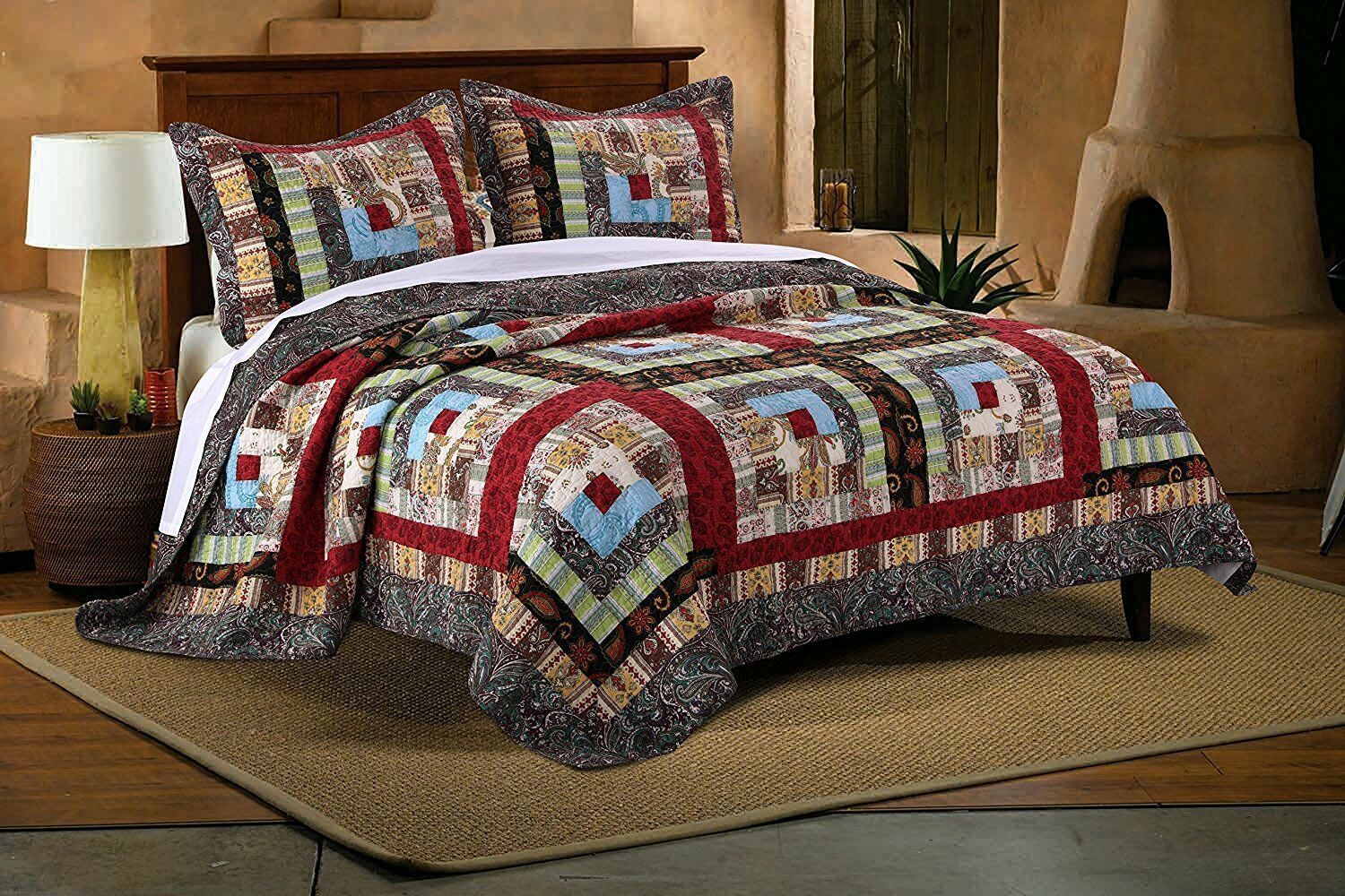 BEAUTIFUL PATCHWORK COUNTRY CABIN LODGE Grün rot braun QUILT SET QUEEN , KING