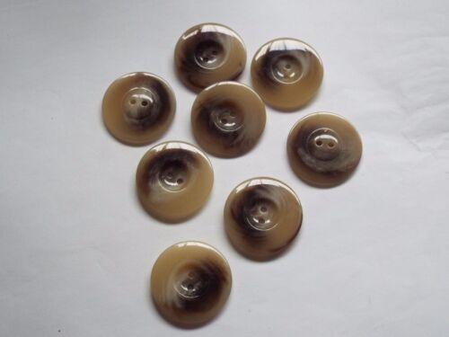 8pc 34mm Beige Brown Mock Bone Suit Shirt Coat Cardigan Knitwear Button 1200