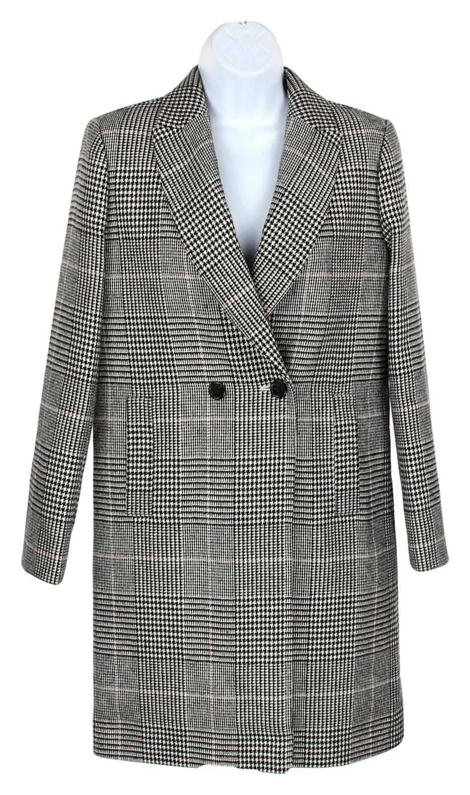 J Besättning kvinnor Daphne Top Coat in Glen Plaid Wool Blend Dress Coat 12 K0701