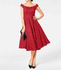 Heine Spitzenkleid m. Petticoat rot Gr 38 40 42 44 46 52 ...