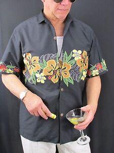Hawaiian-Aloha-Shirt-Vintage-Royal-Creations-Black-Hibiscus-Cotton-Men-039-s-L-H70