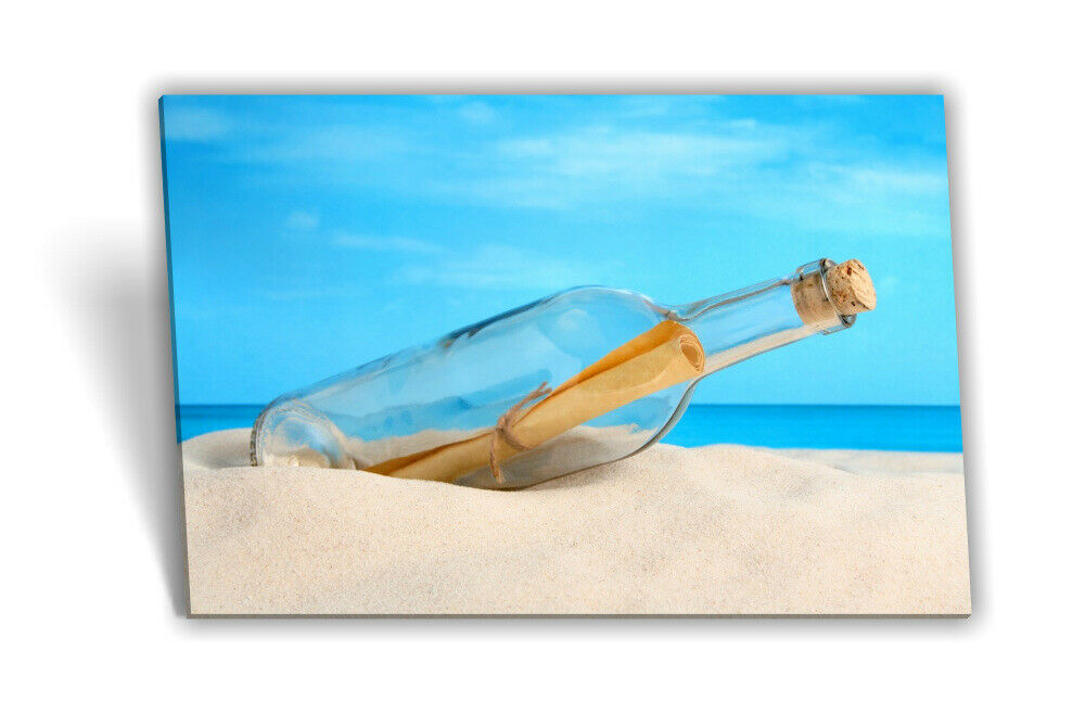 Leinwand-Bild Keilrahmen-Bild Flaschenpost Strand Meer Himmel Sand Blau