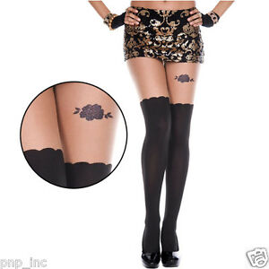 aceb3ef471cd7c Image is loading Fake-Illusion-Thigh-Highs-Hi-Stockings-Rhinestone-Rose-