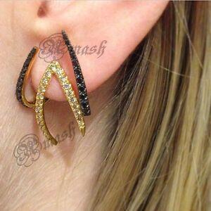 925-Silver-Earring-Two-sided-Front-Back-earrings-Ear-climbers-Hoop-earrings-cuff