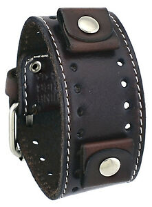 Nemesis-STH-BB-Dark-Brown-Wide-Leather-Cuff-Watch-Wrist-Band