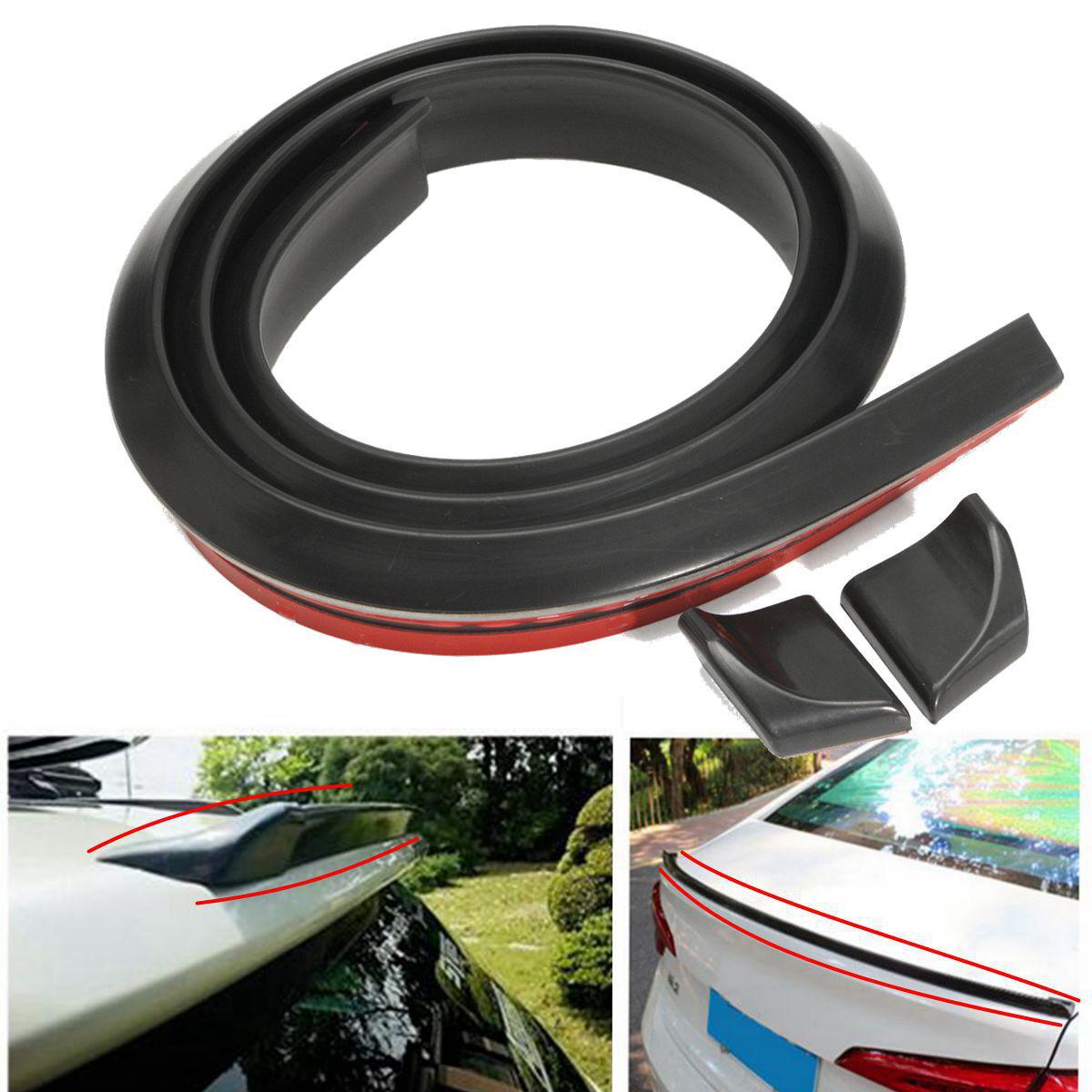Universal Car SUV Rear Roof Trunk Spoiler Wing Lip Trim Black Sticker 4.9ft//1.5M