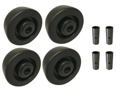 """4 Heavy Duty Caster Wheels Set 4/"""" 5/"""" 6/"""" 8/"""" Heavy Duty Plastic Wheel Set"""