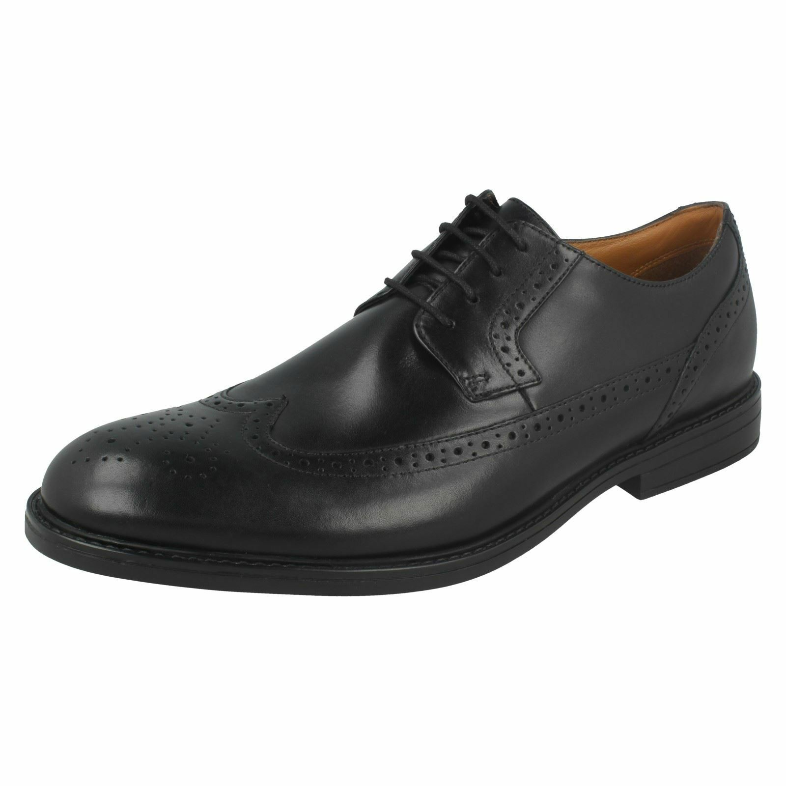 Mens Clarks Formal Low Leather Block Heel Lace Up Leather Low Brogues Beckfield Limit 233b4e