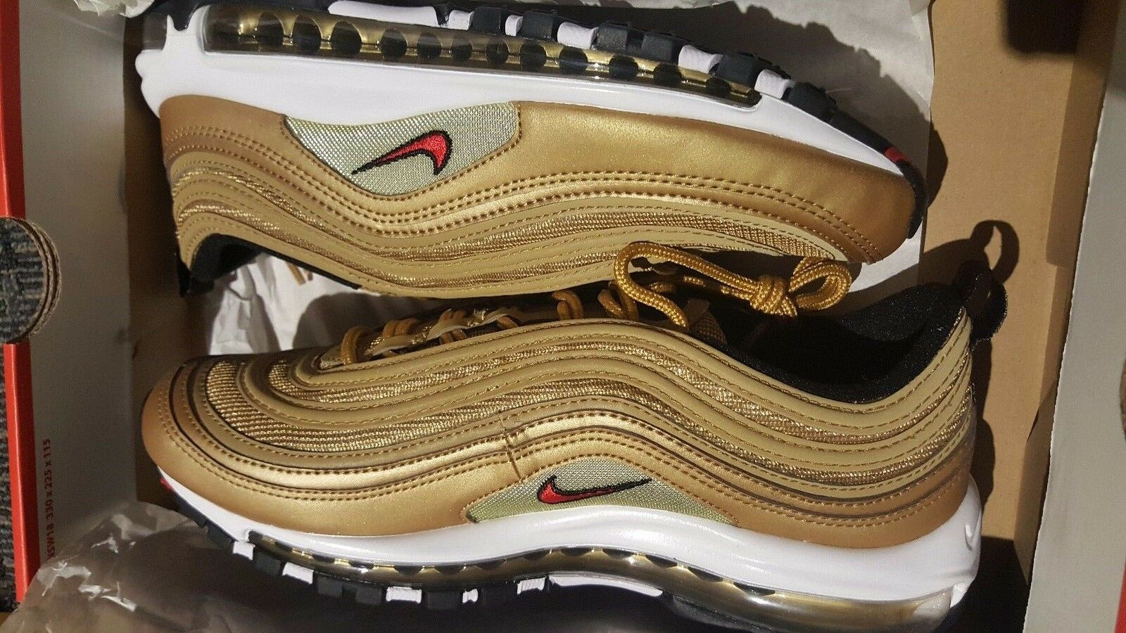 Nike Air Max 97 OG MENSs 8 ,Metallic gold Varsity Red 884421-700