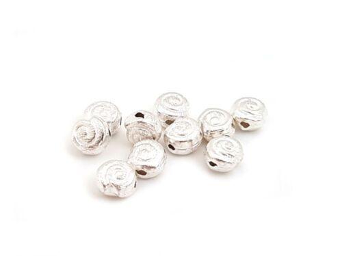 925 plata entre perlas d cepillado 1st sb1059 caracol 6mm
