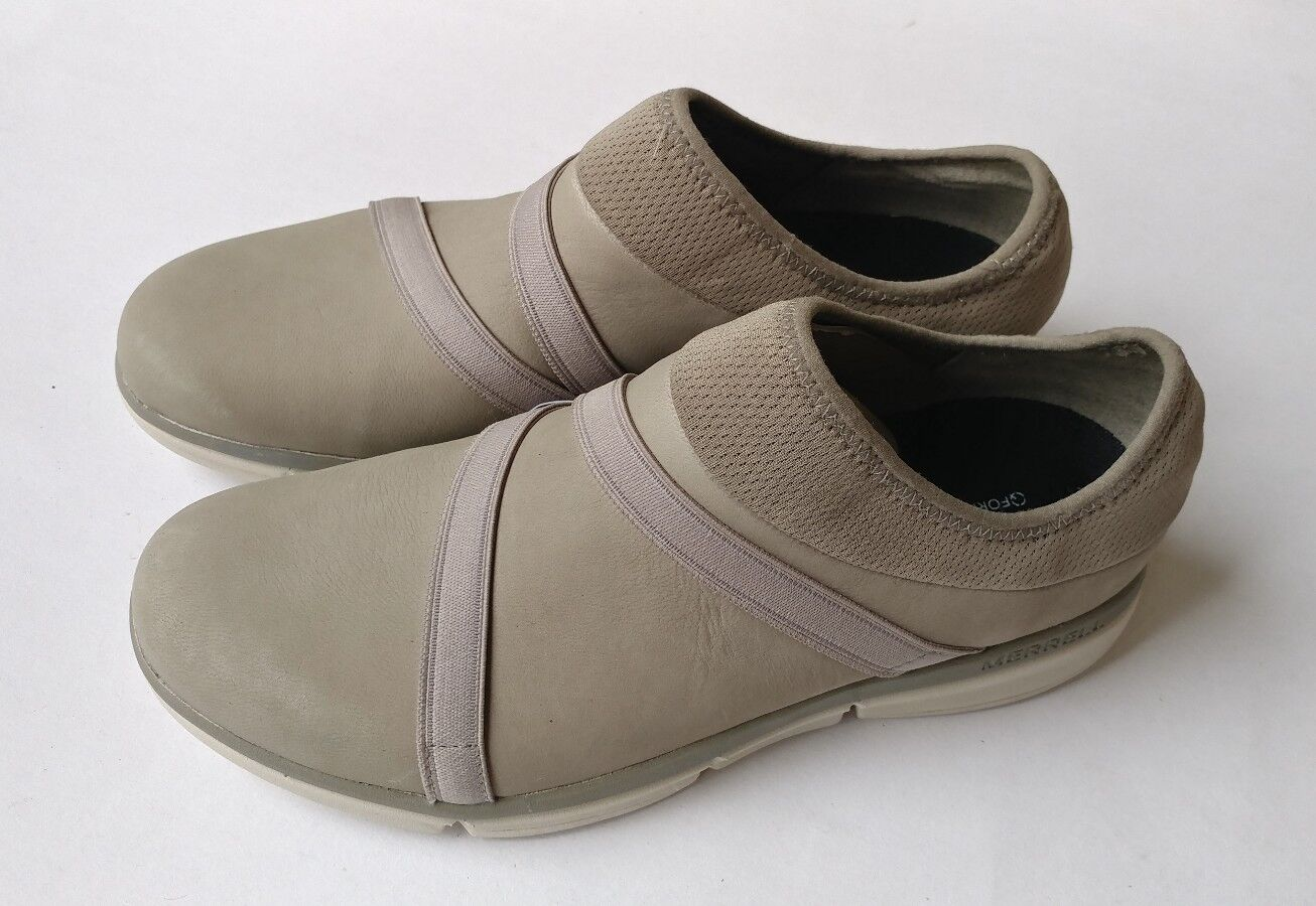 Merrell Shoes Womens Size 7 Zoe Sojoum Leather Q2 Aluminum sand color